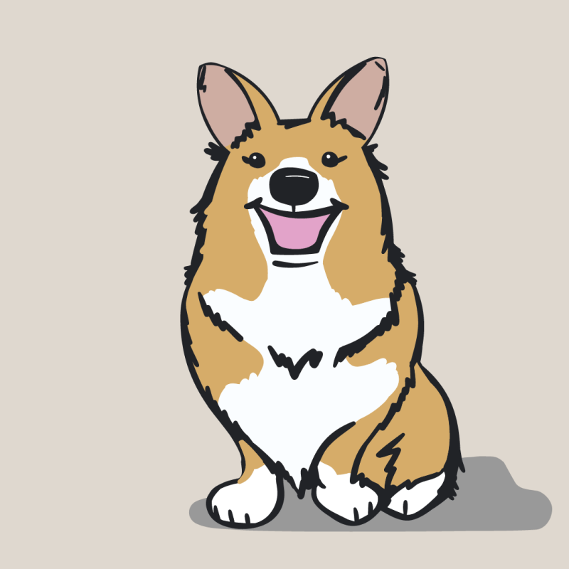 Digital drawing of a corgi by carliandme.com