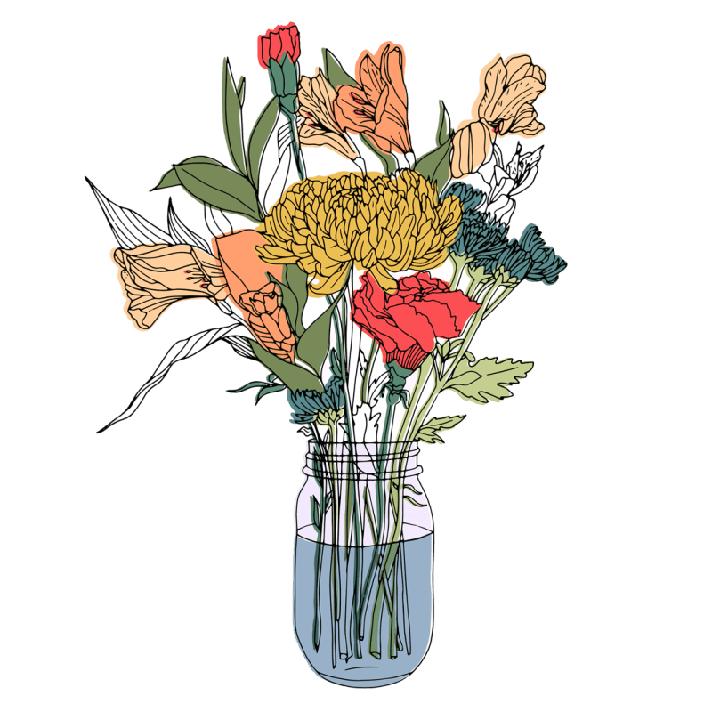 Flowers in a Mason Jar