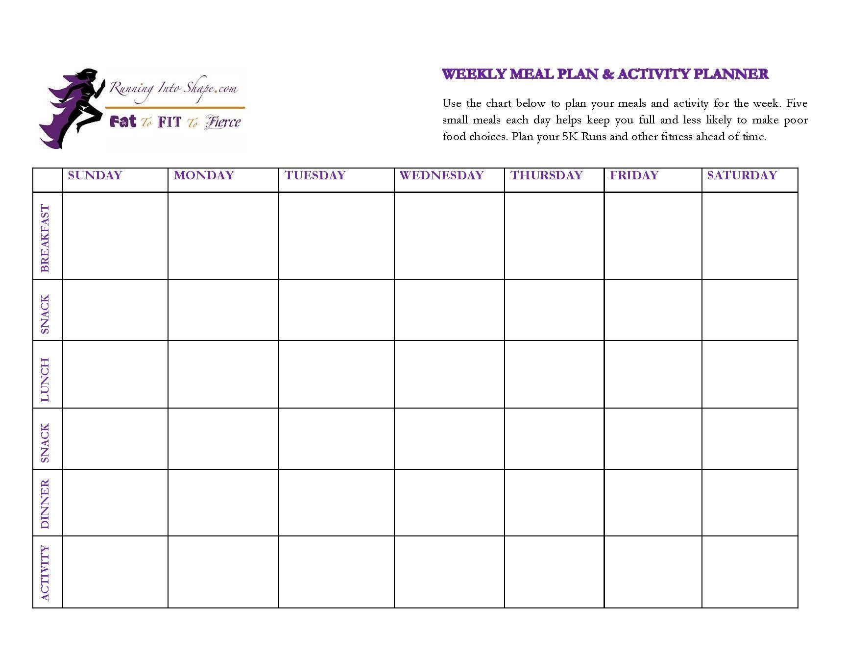 Meal Planner Amp Activity Planner