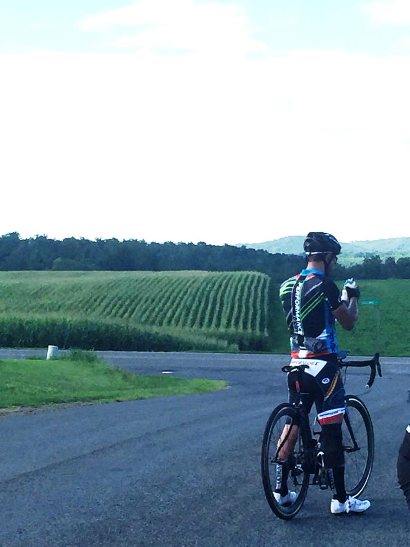 Rows of corn dominate the scenery in the Roll Over Cancer Ride.