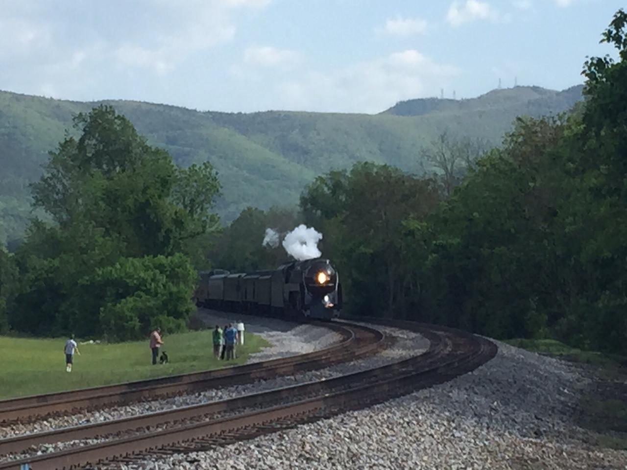 The 611 Steams toward us.