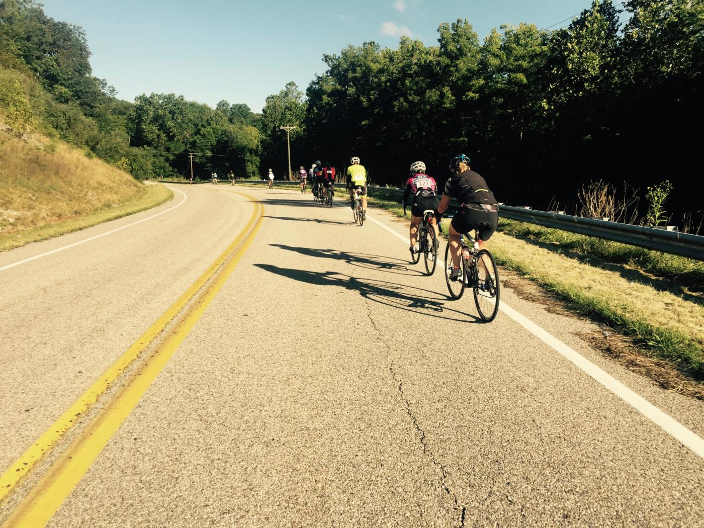 Riding through the town of Middlebrook on the Tour de Valley