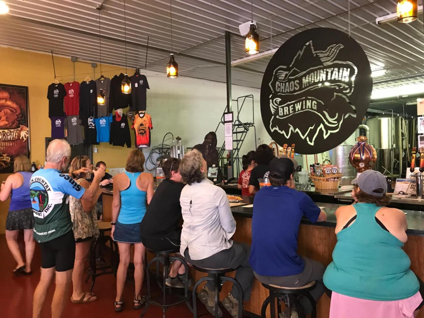 Chaos Mountain Brewing offers a nice bar and lots of merch!
