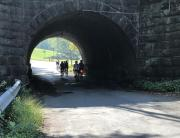 Our group rides under a short tunnel near Buchanan, Va