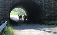 Our group rides under a short tunnel near Buchanan, Va