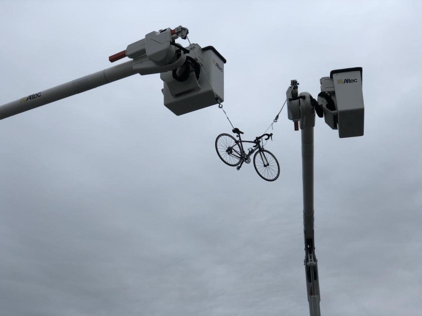 A suspended bicycle marked the finsih line for Virginia's Blue Ridge Gran Fondo