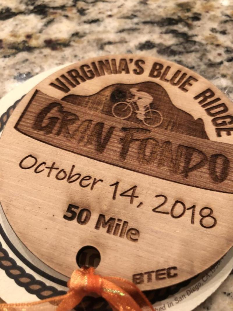 """A cool commemorative """"medal"""" for finishers of the Blue Ridge Gran Fondo."""
