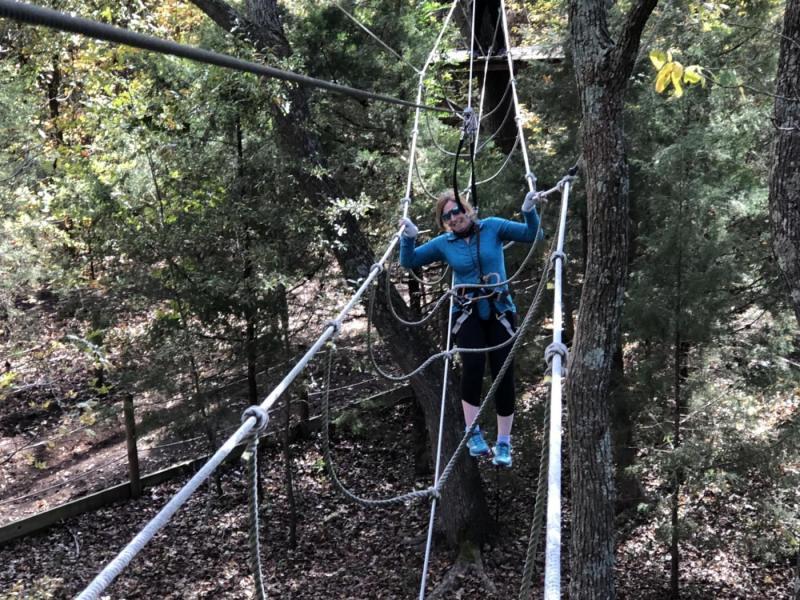 Mary missed a step on the ropes course