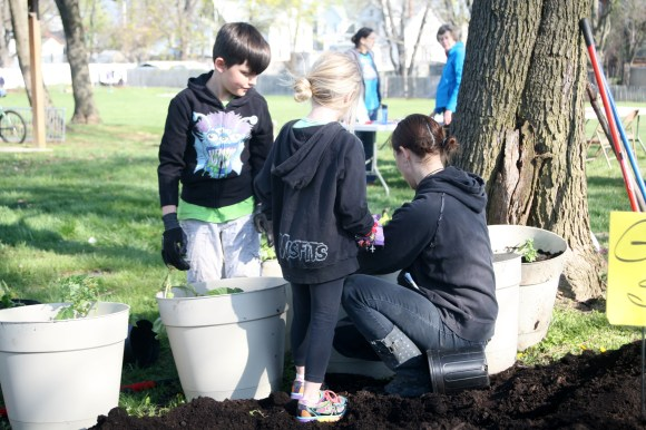 Small planters were created to give to neighbors who don't have space for their own garden