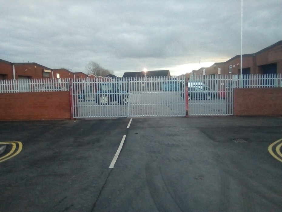 Front View of Galvanised Commercial Gates and Fencing