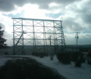 Valley Drive-In screen during restoration