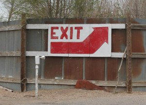 Hand-painted Exit sign at the Mesa Drive-In