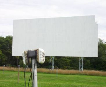 Greenville NY Drive-In screen with speaker pole