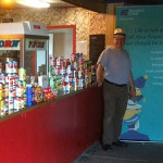 Donated groceries on a drive-in concession stand counter