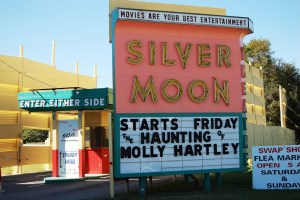 Silver Moon Drive-in marquee and ticket booth