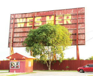 Ticket booth and back of WesMer drive-in screen