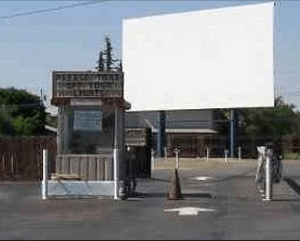 The Madera Drive-In ticket office and screen