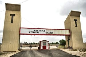 Twin towers at the entrance to the Tascosa Drive-In