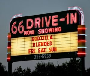 66 Drive-In marquee at twilight