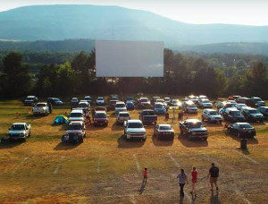 A grassy drive-in lot with cars facing a screen