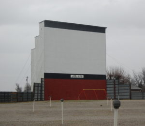 Barco Drive-In screen with distinctive three-step backing