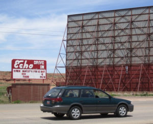 Echo Drive-In marquee with large screen in background