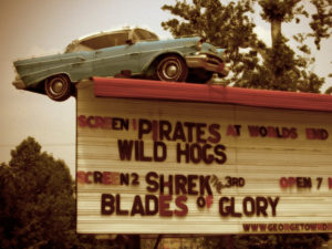 Georgetown Drive-In marquee with 57 Chevy mounted on top