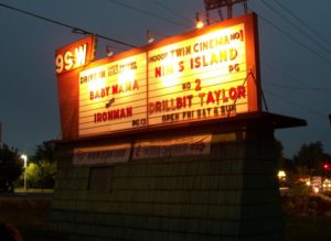 99W Drive-In marquee at night