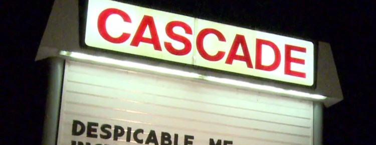 Cascade Drive-In marquee at night