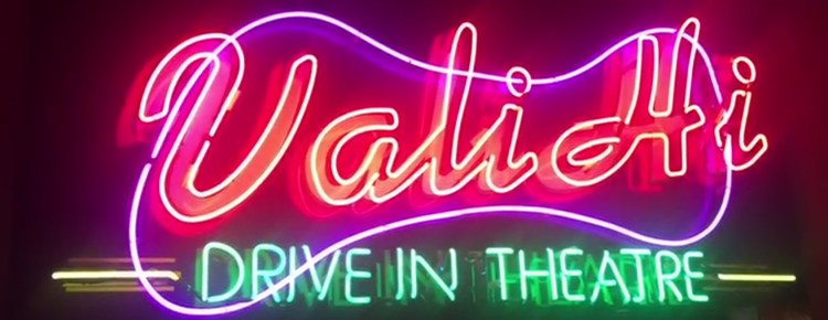 Neon sign of the Vali Hi Drive In Theatre