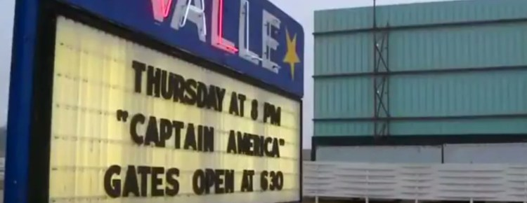 Valle Drive-In marquee and screen