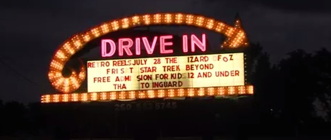 13-24 Drive-In marquee at night