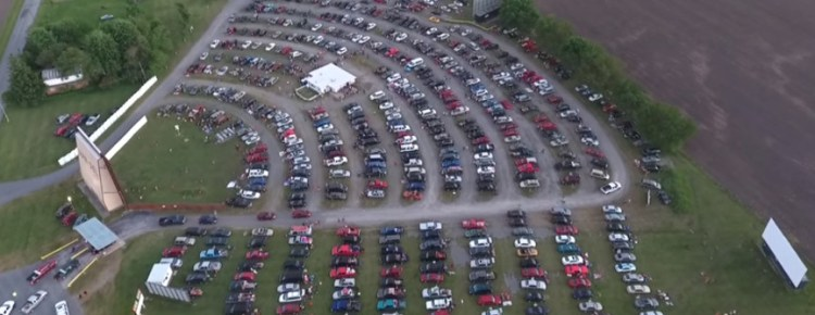 Aerial view of the three-screen Van-Del Drive-In
