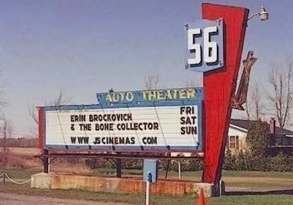56 Drive-In marquee by day