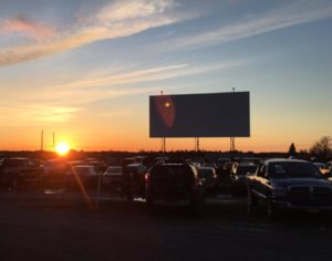 Screen at the Bay Drive-In at sunset