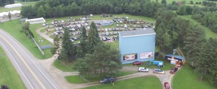 Aerial photo of the busy Family Drive-In