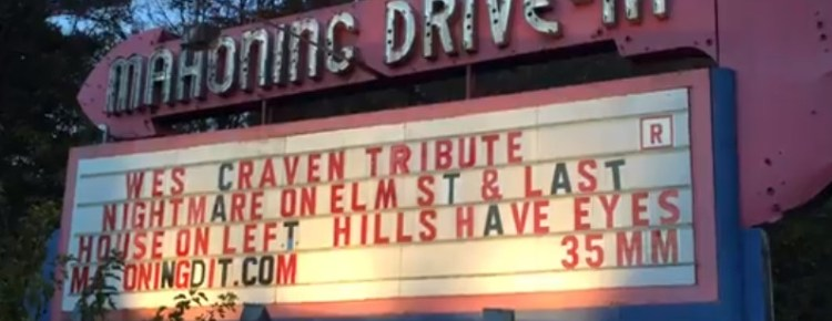 Mahoning Drive-In marquee at twilight