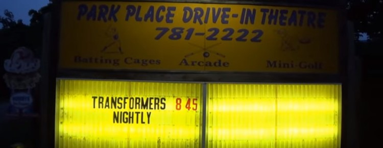Park Place Drive-In marquee at night