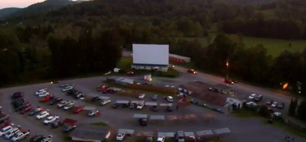 Aerial view of the Sunset Drive-In screen