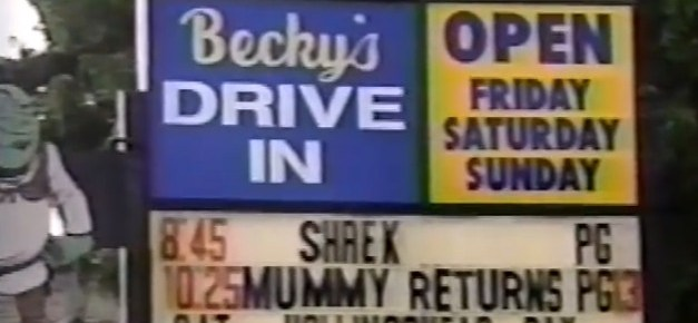 Becky's Drive-In marquee from 2001