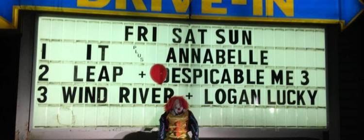 Brownsville Drive-In marquee with scary clown