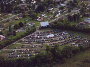 Aerial view of a full house at the Evergreen Drive-In