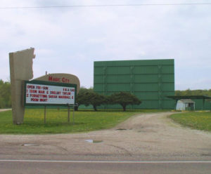 Magic City Drive-in marquee, main screen, and box office