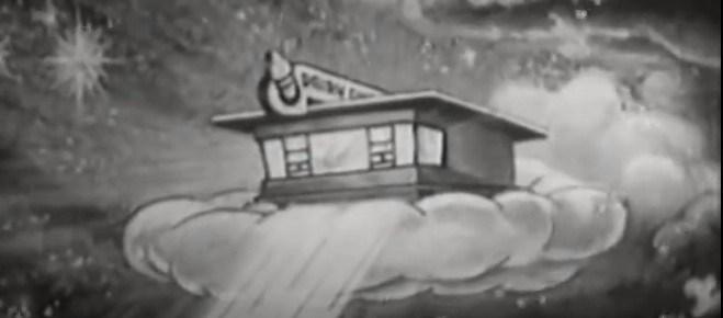 A cartoon Dairy Queen restaurant floating on a cloud