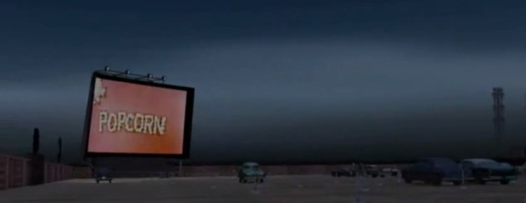 3D model of a drive-in at dusk