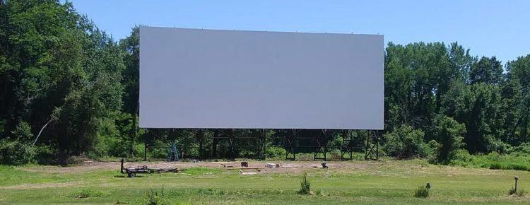 Clean wide drive-in screen in daylight