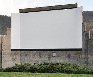 The cinderblock screen of Warner's Drive-In