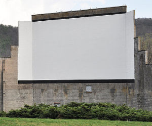 The cinderblock screen of Warner's Drive-In