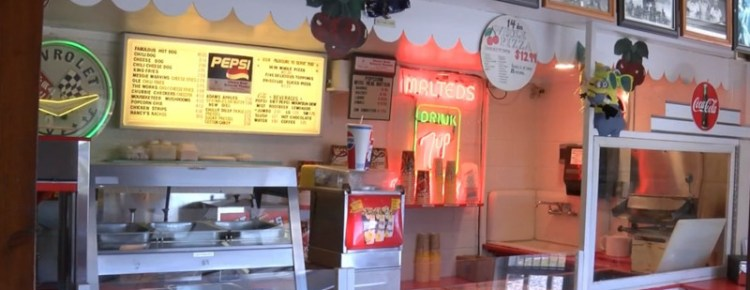 Concession stand at the Cherry Bowl Drive-In