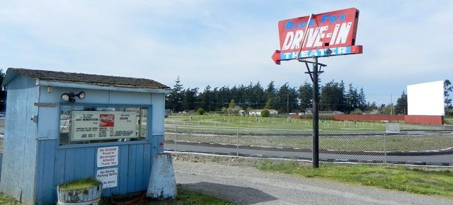 Blue Fox Drive-In box office, sign and screen